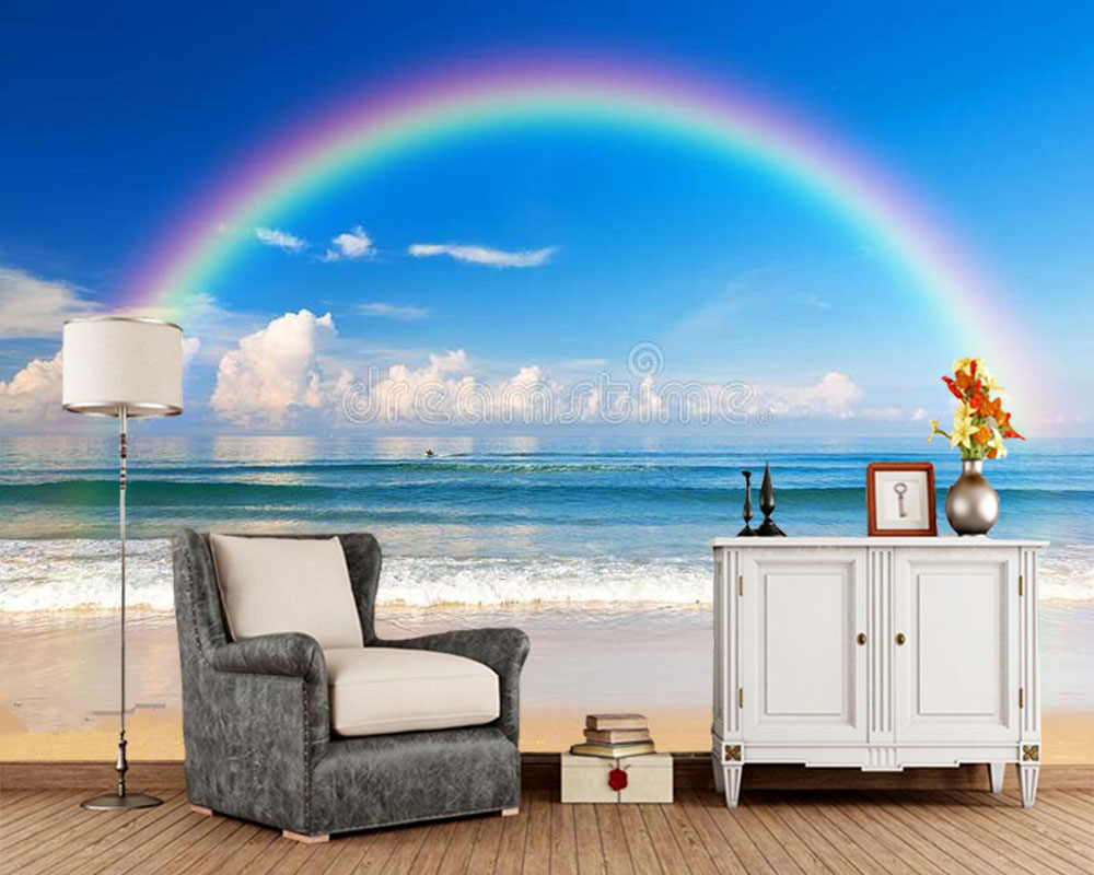 Papel De Parede Sea With A Rainbow In The Sky 3d Wallpaper Mural,living Room TV Sofa Wall Kids'room Wall Papers Home Decor