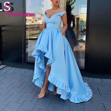 Long Evening Dresses Satin Blue Robe De Soiree 2019 V-Neck  Asymmetrical Party Formal Dress