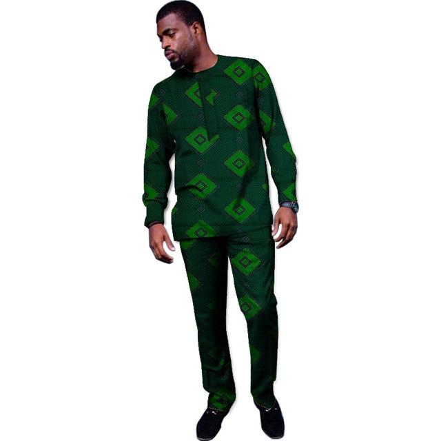 Abbigliamento africano su misura top + pantaloni set di Ankara abiti per  gli uomini camicia a 15c1539dba6