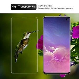 Image 5 - Protetor de tela com impressão digital desbloquear para samsung galaxy s10 uv filme vidro capa completa para s10 + s10 5g vidro temperado