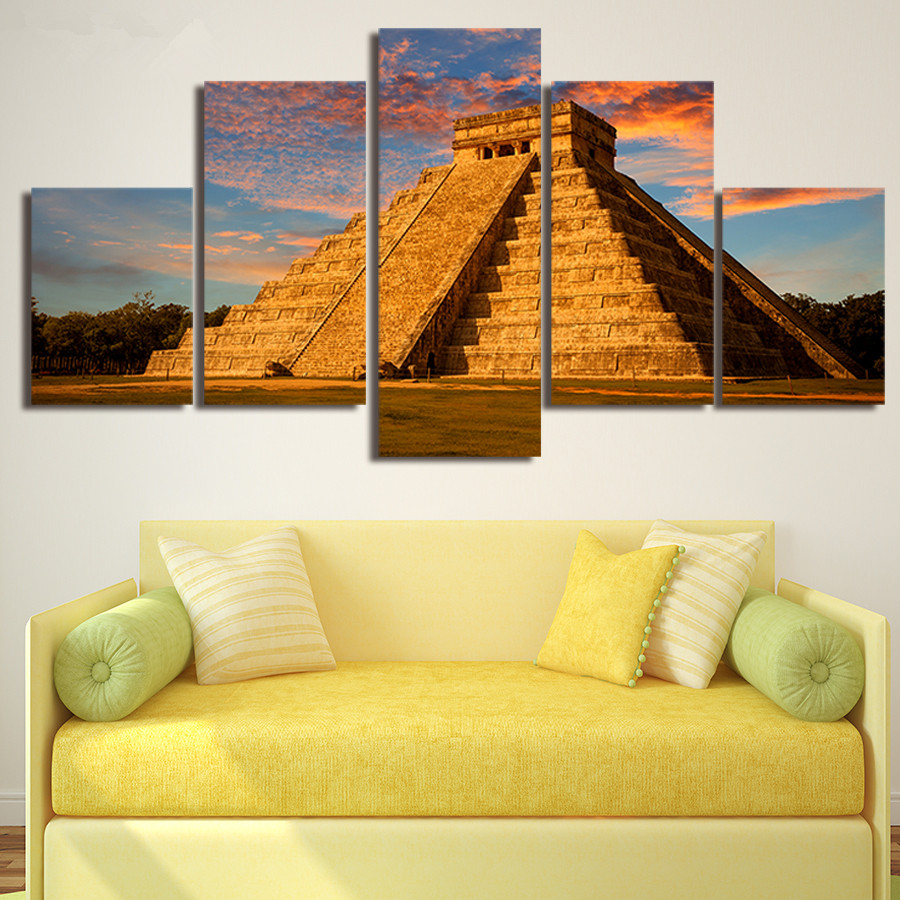 5 Panels Mexican Pyramid Printed Print Home Decoration HD Painting ...