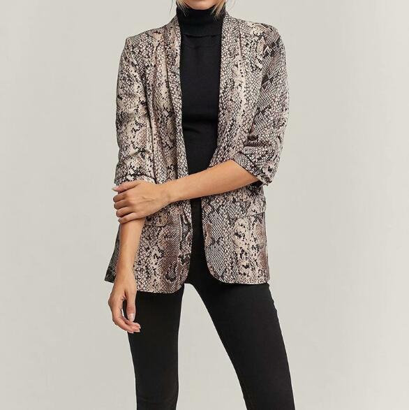 Blazer Feminino 2019 Spring Fashions Snake Skin Print Office Blazer Women Cuffs Sleeves Blazers and Jackets Outwear Femme Mujer