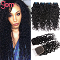 5PCS/lot Malaysian Water Wave 4 Bundles with Closure Moda Malaysian Wet Wavy Curly Human Hair Malaysian Virgin Hair with Closure