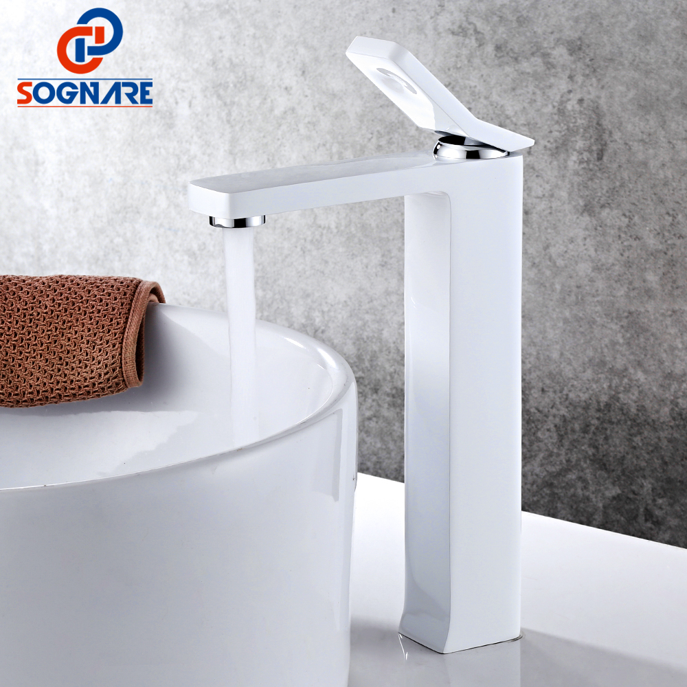 SOGNARE Bathroom Basin Faucets Single Handle Mixer Tap Water Waterfall Basin Mixer White Painting Faucet Cold and Hot Tall Crane hpb basin faucet bathroom waterfall faucet chrome finished single handle mixer tap hot and cold water mixer taps crane hp3006
