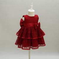 New Baby Girl Dress Hollow Lace Princess Infant Wedding Party Dresses Red White Newborn Gown Baby