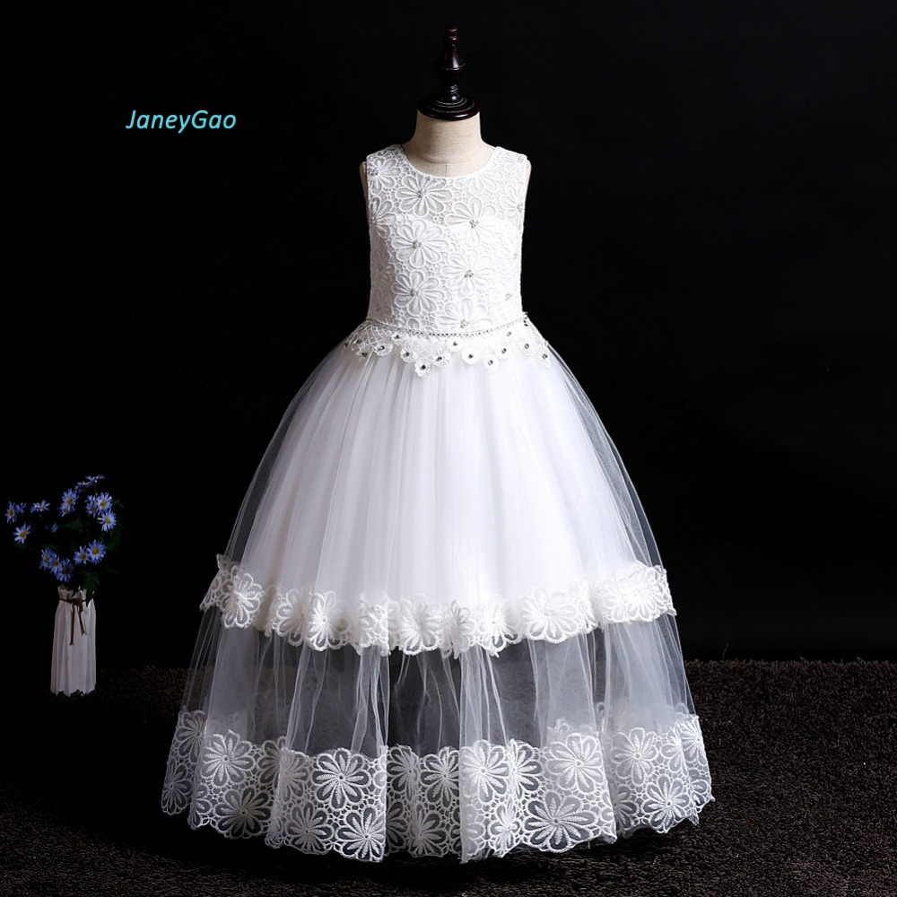 JaneyGao   Flower     Girl     Dresses   For Wedding Fashion Children   Dress   Floor Length Teenage   Girl   Long Formal Gown For Party 2019 New