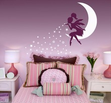 Wall Sticker Fairy Blowing Stars Decal Nursery Decor Vinyl Babys Room Kids Bedroom On Moon AY0152