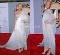 2017 Blake Lively Celebrity Dresses A Linha Chiffon Frisado Lantejoulas Applique Um Ombro Tornozelo Comprimento Vestidos de Noite Formal 1875