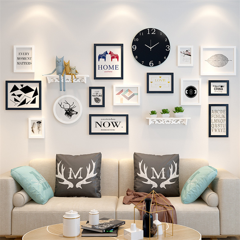 Solid Wood 14pcs Picture Frames Clock Shelf Modern Living Room Fashion Painting Photo Frame Set Wooden