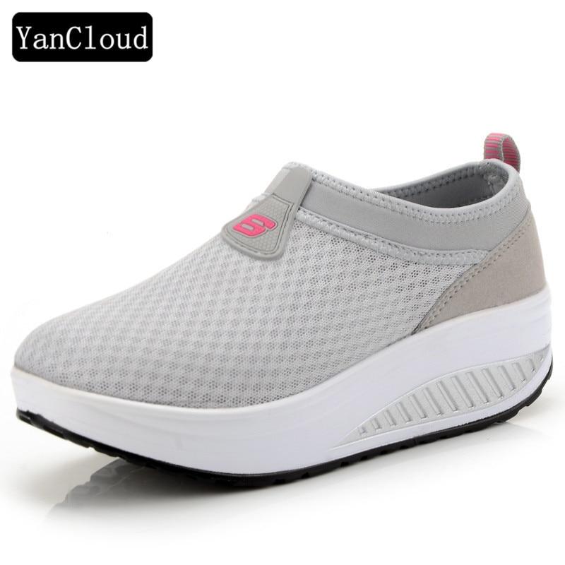 2016 Verano Zapatos Mujeres Causal Zapatos Moda Caminar Pisos Altura - Zapatos de mujer - foto 2