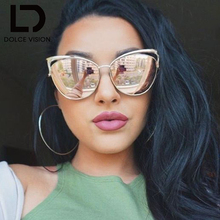DOLCE VISION Mirror Pink Cat Eye Sunglasses Women Gold Metal Fashion Eyewear UV400 Hot Sales Brand Designer Oculos Women Shades
