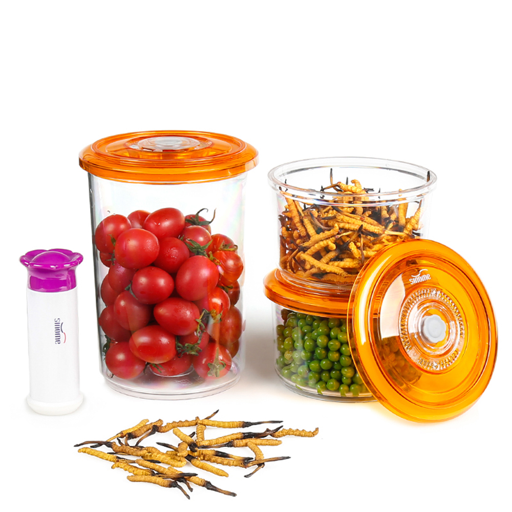 3pcsset Food Container Round Storage Set with Vacuum Pump Food