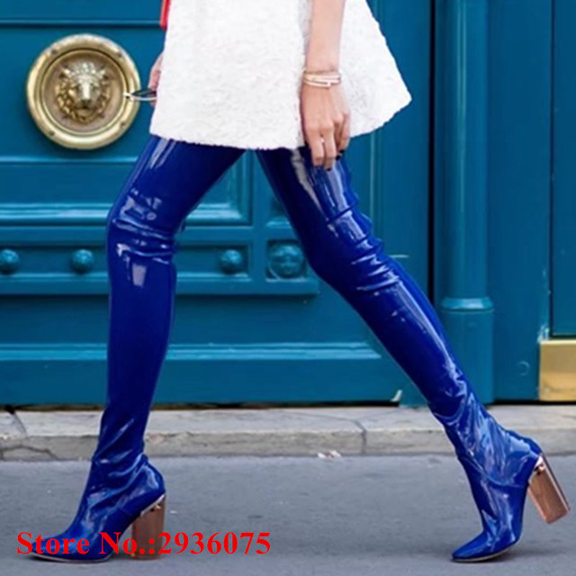6bde9ca5f6 Over The Knee Boots Royal Blue Sexy Women Long Boots Patent Leather Clear  Transparent Perspex Block High Heels Thigh High Boots