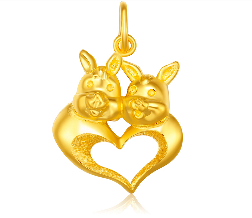 Pure 3D 24K Yellow gold Rabbit Pendant Ladys Pendant 3.66gPure 3D 24K Yellow gold Rabbit Pendant Ladys Pendant 3.66g