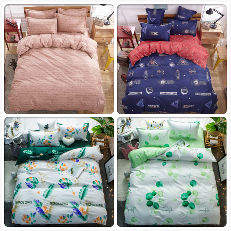 Blue Pink Green Gray AB Side Bedlien 1.5m 1.8m 2m Flat Sheet Bed Linens King Queen Double Size Duvet Cover Child Kids Bedclothes