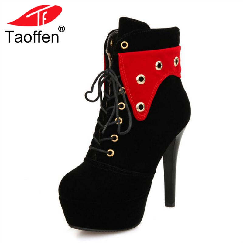 83eb9263f6b Fiesta Plataforma Zapatos De Tamaño Invierno 43 Mezclado Tacones Mujeres  Botines 33 Caliente rojo Color Altos Up Taoffen Botas ...