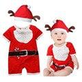 Bebê vermelho Bodysuit Traje de Papai Noel Presente de Natal Do Bebê de Manga Curta Definir Bebê Natal Papai Noel Conjunto Bodysuits Pant