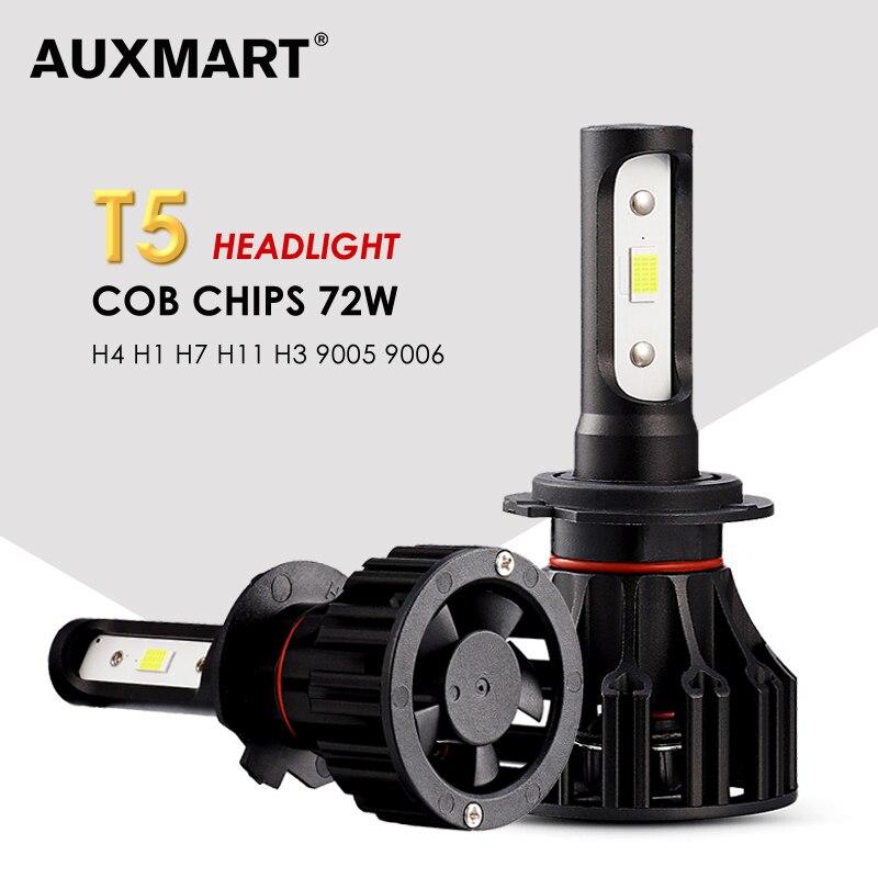 AUXMART Auto Led H1 H3 9005 9006 H7 LED Headlight Car Lights 72W 6500K H8 led H11 Fog Lamps COB Chips Led H4 Car Bulbs T5 Series panlelo new 9005 auto car led lights lamps 6500k kit fog lamp play