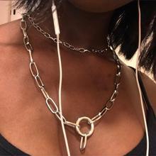 Punk Women Multi Layered chain Necklace Statement Gothic Metal round Pendant Choker Collier Jewelry