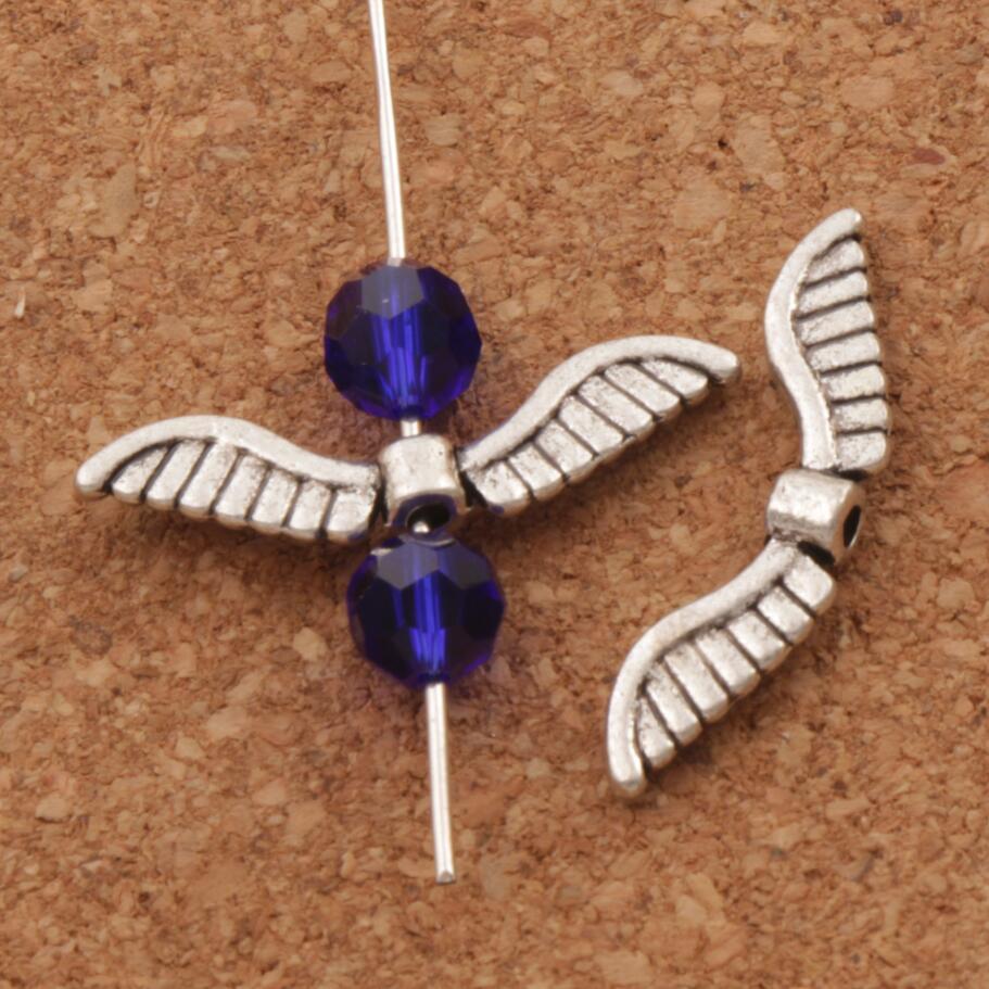 Angel Wing шарики шарма 26×7 мм 200 шт. старинное серебро Распорки Ювелирных изделий L076