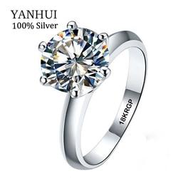 Real White Gold Filled Ring 18K RGP Stamp Rings Set 3 Carat CZ Diamond Wedding Rings