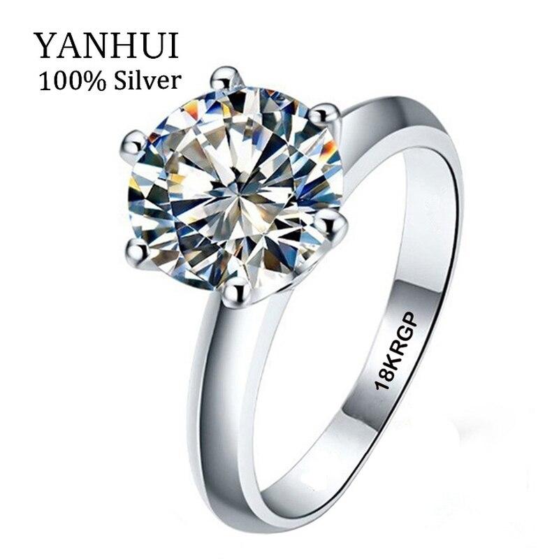 Véritable 100% Or blanc Bague 18KRGP Timbre Bagues Ensemble 3 Carats CZ Diamant Anneaux De Mariage Pour Les Femmes TAILLE de BAGUE 5 6 7 8 9 10 11 YHR168