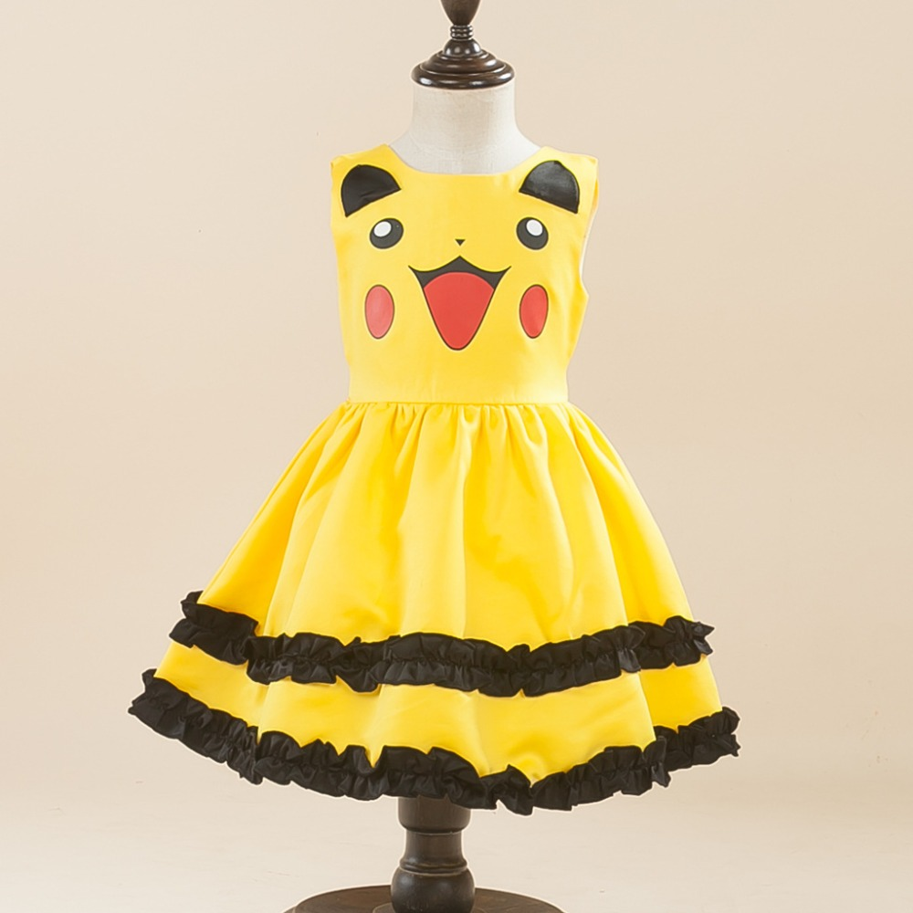 New Girls Pikachu dress costume Cute Ball Gown Dress Kids Children Lovely Dress Anime Cosplay Pokemon Go Costumes Birthday Party new cartoon pikachu cosplay cap black novelty anime pocket monster ladies dress pokemon go hat charms costume props baseball cap