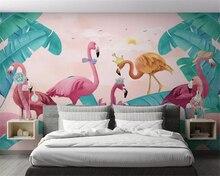 beibehang Customized environmentally friendly Nordic fresh tropical plants flamingo TV background papel de parede 3d wallpaper