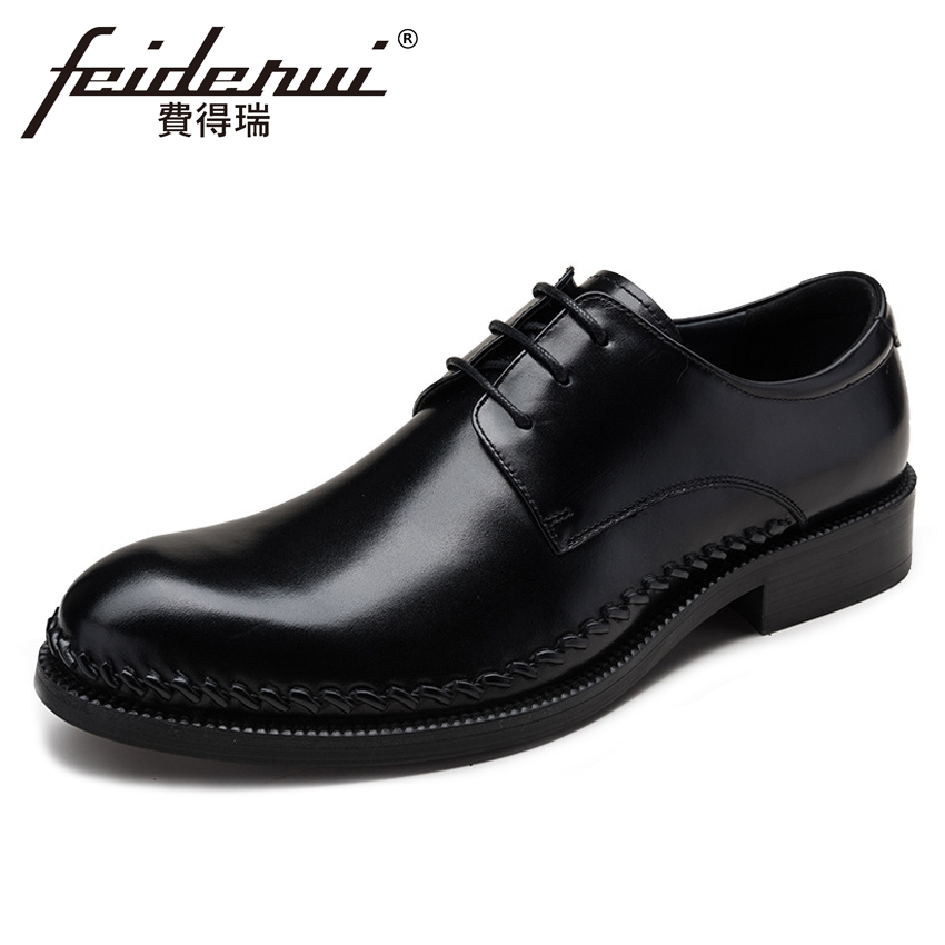 Fashion Genuine Leather Men's Wedding Party Footwear Pointed Toe Lace-up Derby Man Formal Dress Office Handmade Shoes YMX489 new italian designer men s wedding party footwear genuine leather pointed toe lace up derby man luxury formal dress shoes ymx504