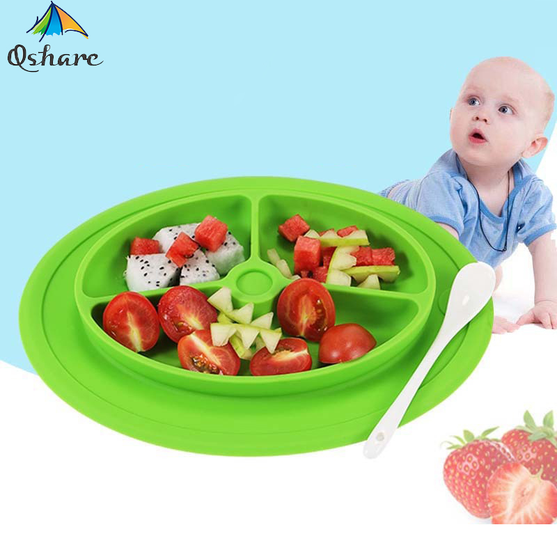 Qshare Baby Food Dishes Tableware Children Feeding silicone Bowl Infant Food Container Kids Suction Plates Learning Dinnerware