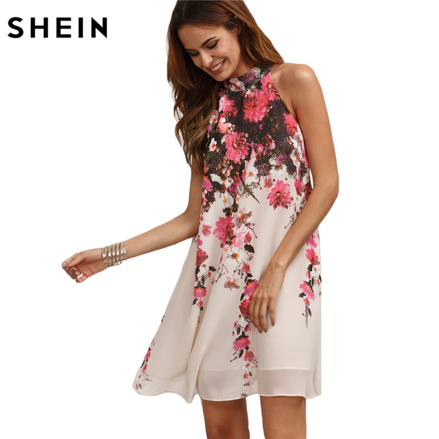 SHEIN Summer Short Dresses Casual New Arrival Womens Multicolor Round Neck Floral Cut Out Sleeveless Shift Dress