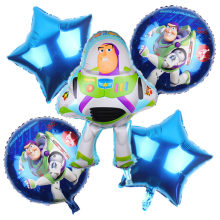 Free shipping 5pcs / lot childrens toy car theme birthday party decoration aluminum balloons Toy Story Set