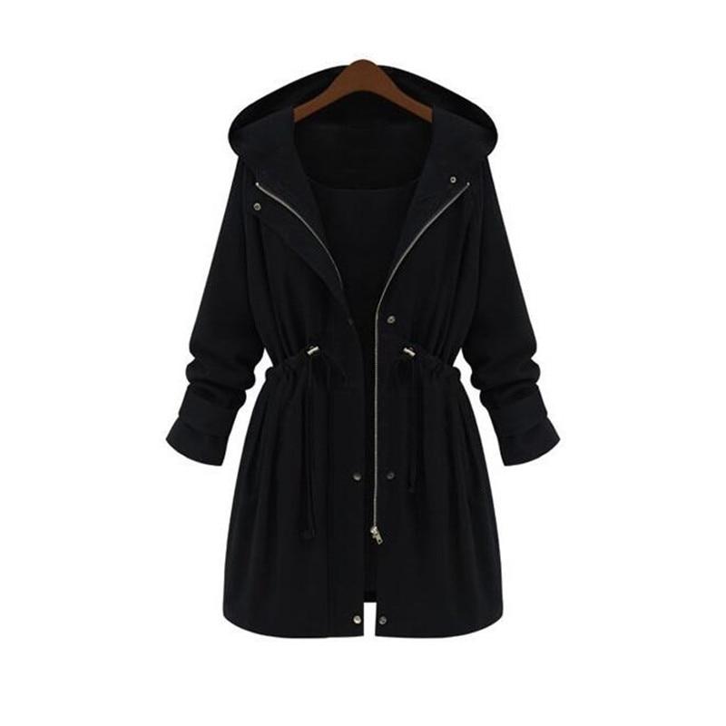 2018 New fashion black women s winter casual long coat