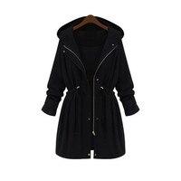 2018 New fashion black women's winter casual long coat