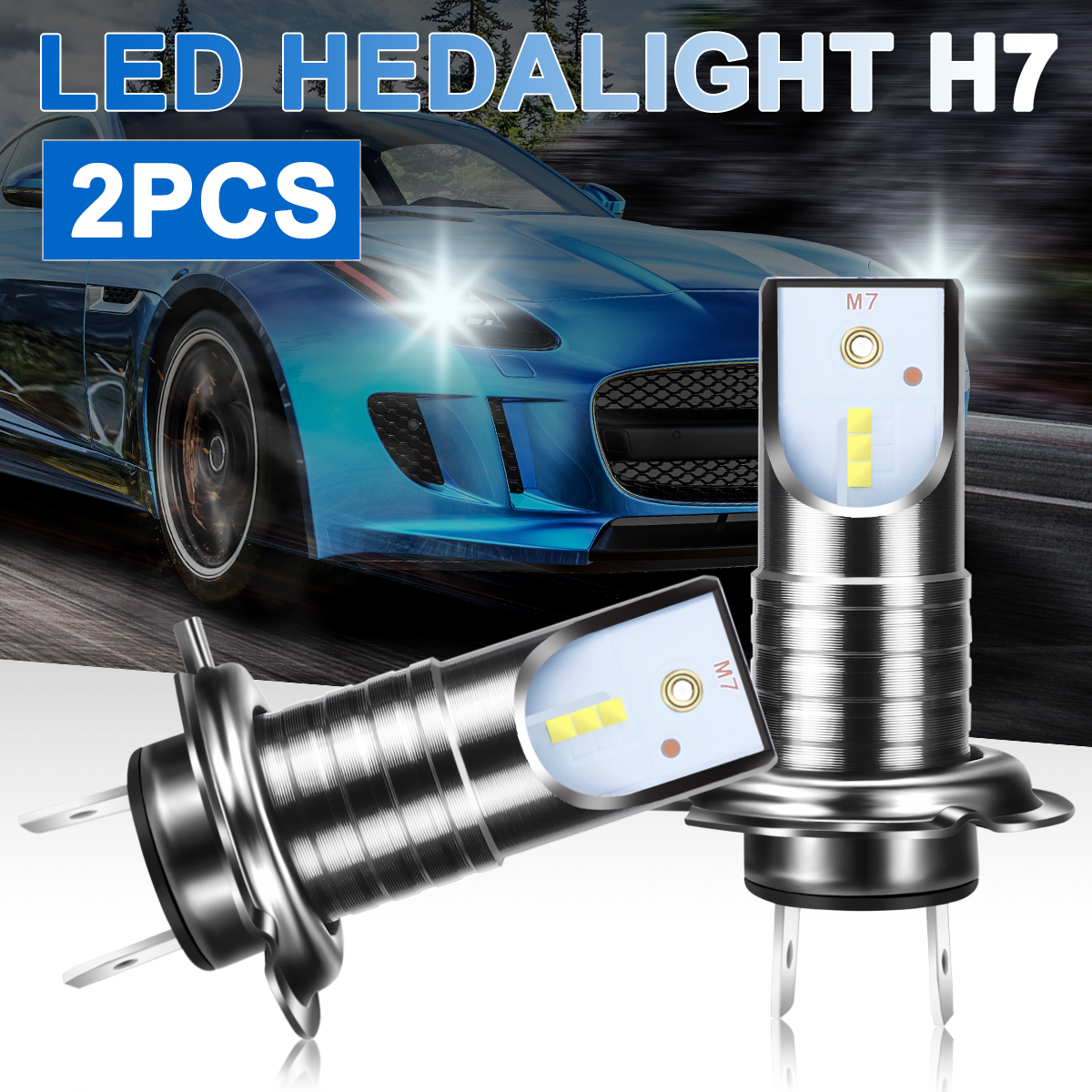 For BMW For Audi For Kia 2Pcs H7 LED Headlight 55W 13000LM 6000K LED Car Headlight Conversion Kit Canbus Error Free Bulb White image