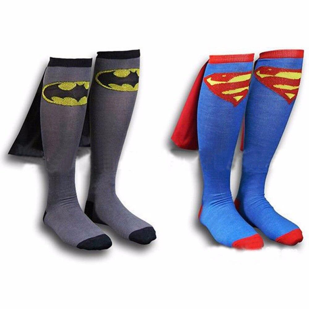 Új gyerek labdarúgás zokni Funny Cosplay zokni szuperhős Superman Batman térd magas foci Cape Cool