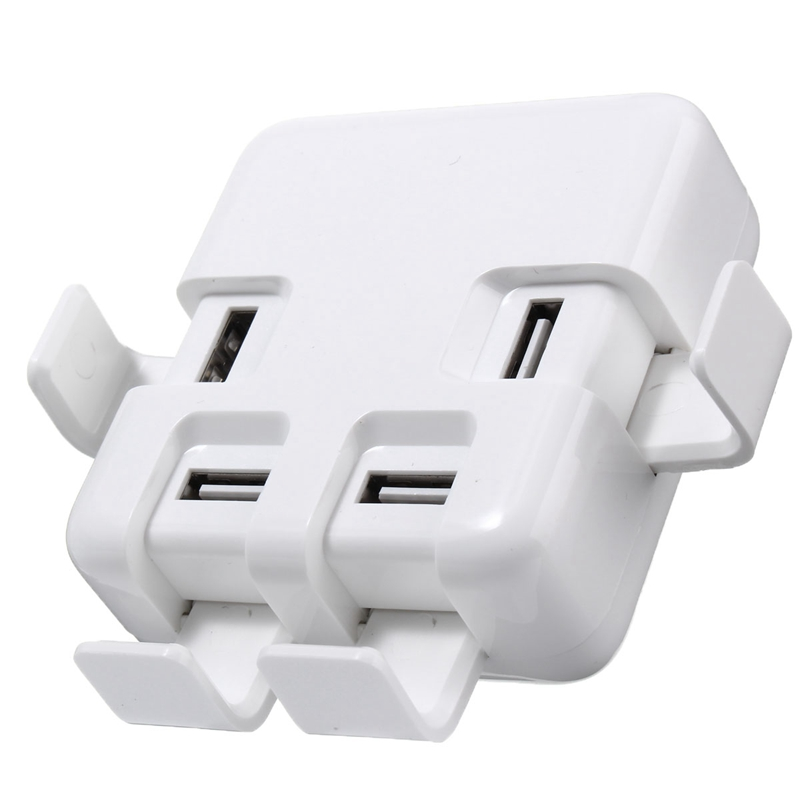 4 Port USB Charger Charging Dock Power Adapter + Detachable Power Cord Fast Charge Univers
