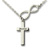Wholesale Sterling Silver Infinity And Cross Name Necklace Personalized Infinity And Cross Nameplate Pendant To My