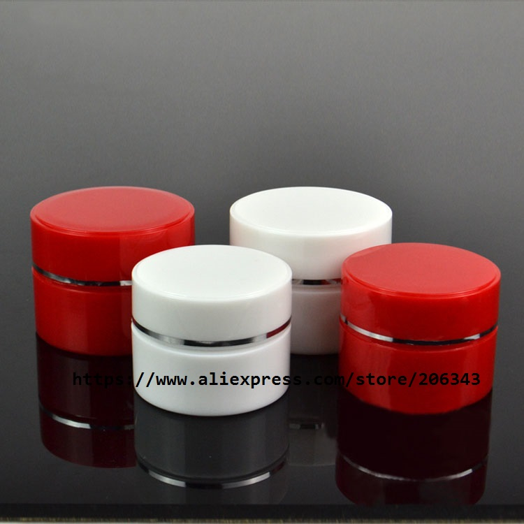Skin Care Tools 30g White/red Plastic Bottle/jar/pot For Essence/gel/cream/mask/art Nail/skin Silver Rim Jar Kin Care Cosmetic Packing