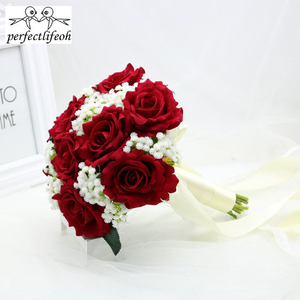 Image 5 - perfectlifeoh Hot Red Wedding Bouquet Bridal Bouquet Wedding Decoration Foamflowers Rose Bridal Bouquet