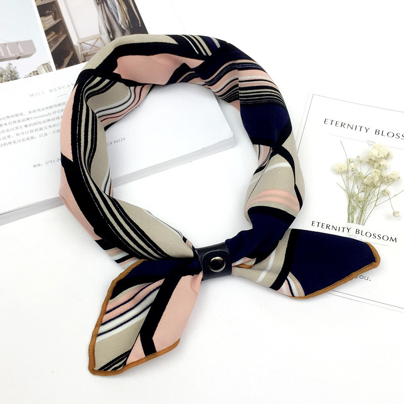 50*50CM Retro Multicolor Square Scarf Stripe Design Print Kerchief Woman Neck Bufanda Hair Tie Band Wraps Echarpe