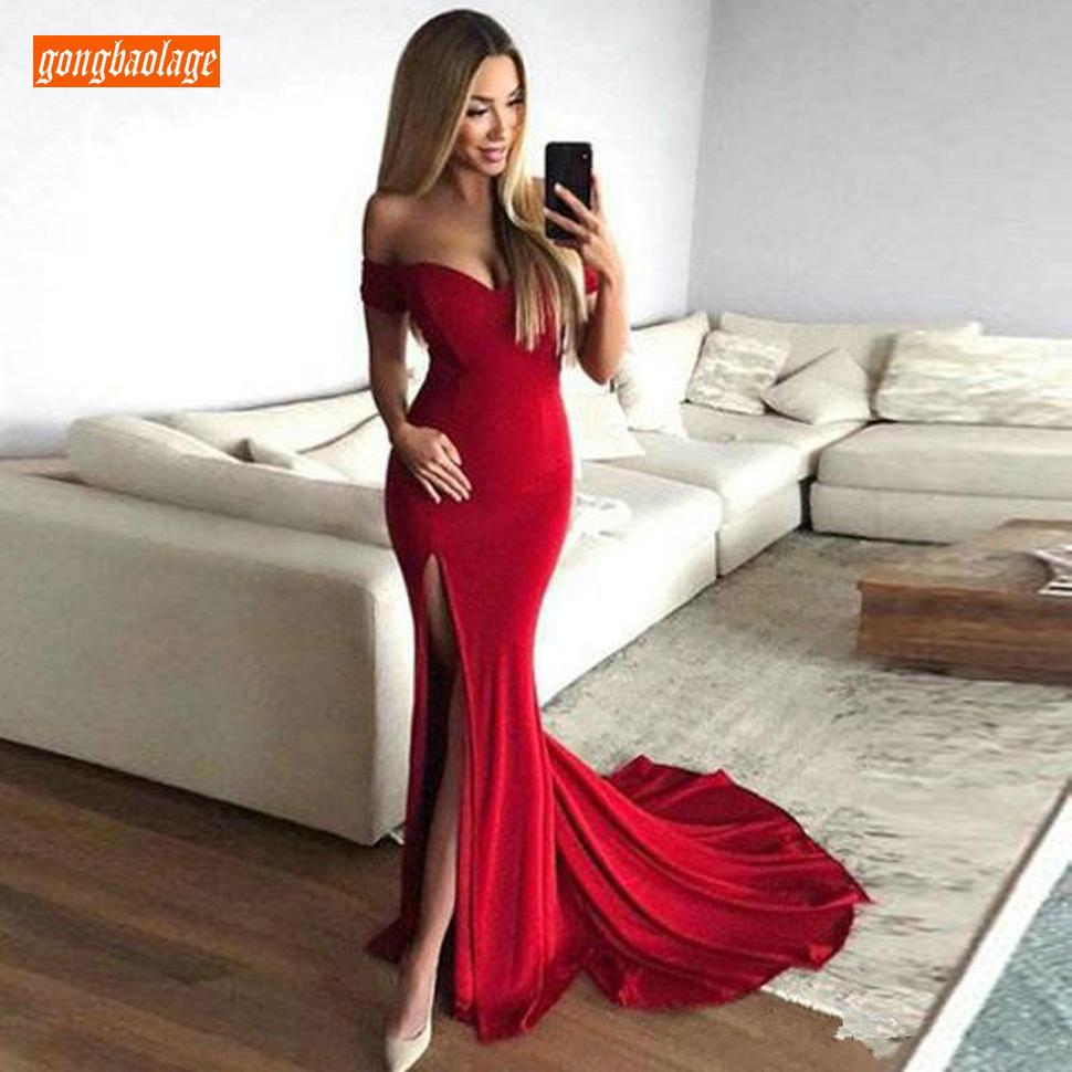 Charmante Slim Fit rouge robes de soirée 2019 sirène longues robes de soirée fête chérie Pageant sur mesure robe formelle femmes