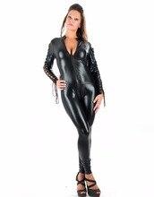 Zentai Erotic Vinyl Jumpsuit Bodysuit Long Sleeve Zipper To Crotch Open Bra Unitard Wet Look Adult Black Catsuit W207940