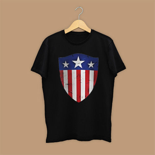 NEW Captain America Hero Black T-Shirts TEE S-3XL Round Neck Best Selling Male Natural Cotton Shirt TOP TEE image