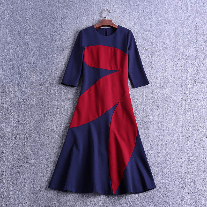Ecombird HIGH QUALITY New Fashion 2018 Victoria Dress Women's 3/4 Sleeve Color Block Patchwork Mid calf Dress