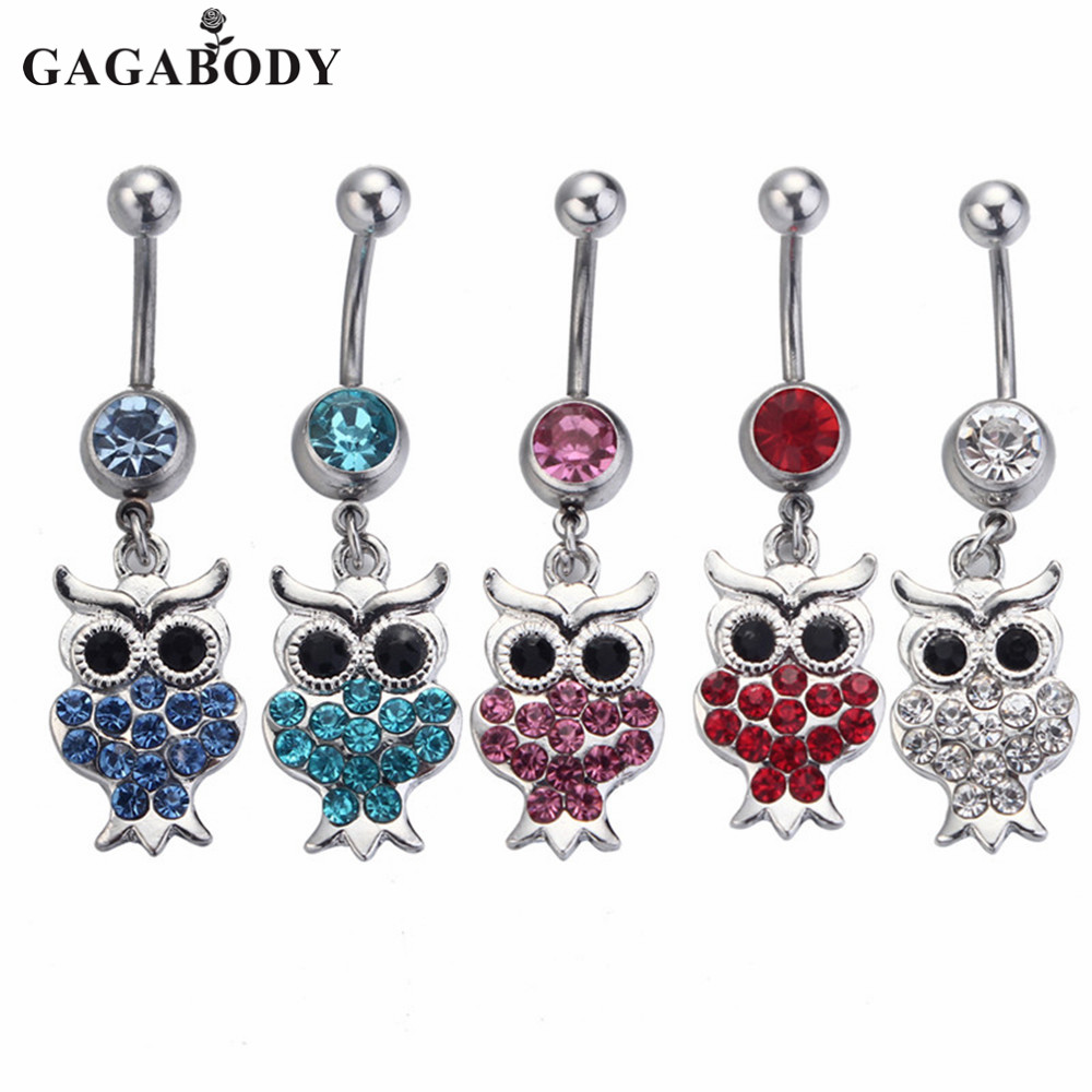 1PC Kawaii Owl Belly Button Rings 316L Surgical Steel Fashion Navel Rings Dangle for Women Belly Piercing Body Jewelry