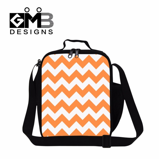 Dispalang lunch bags for women children's Insulated food bag stylish Orange striped lunch container chevron meal bag for girls