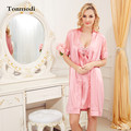 Noble Silk Nightgowns Female Sexy Silk Spaghetti Strap Lace Sleepwear Temptation Princess Nightgown 2 Picec/set