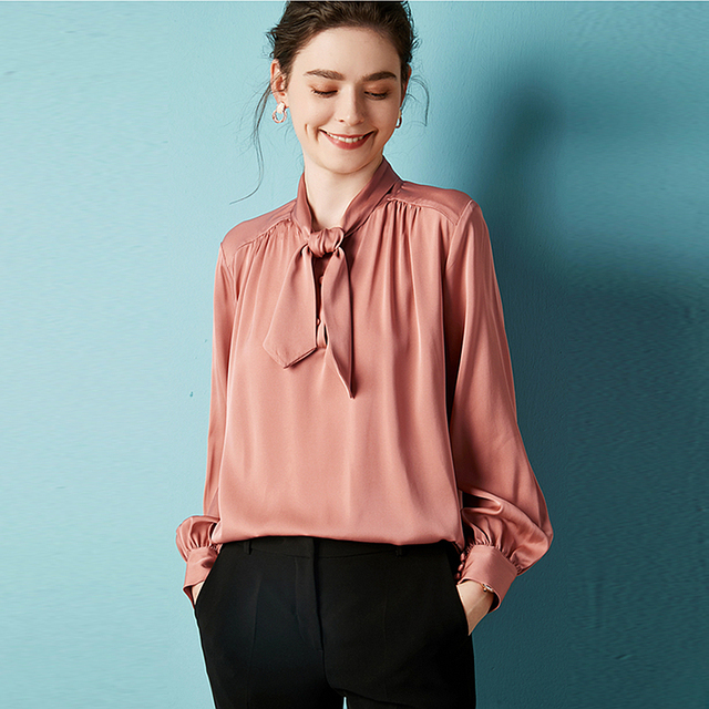 c4daa93cab3d52 100% Silk Blouse Women Shirt Solid Plus Sizes Elegant Style Bow Neck Long  Sleeves 2