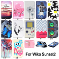 Sunset2 Phone Case PU Leather Wallet Stand Card Holder Case Protector Skin Cover For WIKO Sunset 2 Soft TPU Rubber Silicone Case